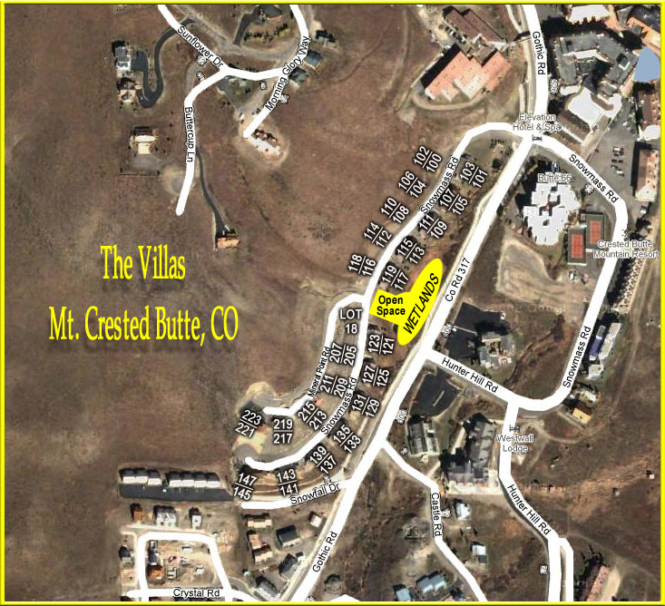 The Villas Mt. Crested Butte Map