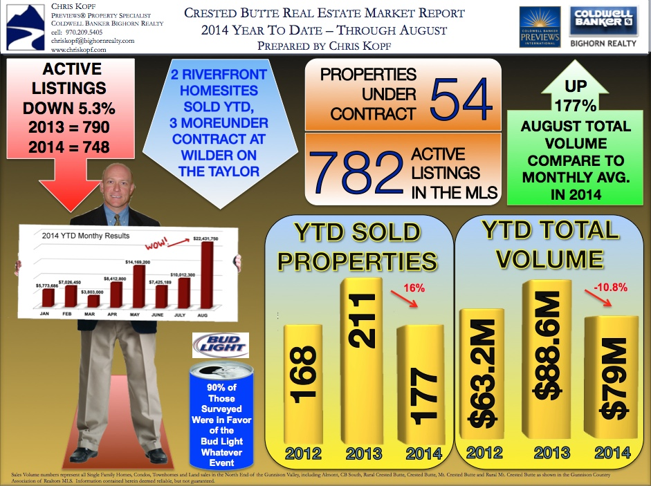 Crested Butte Real Estate Metrics YTD 2014