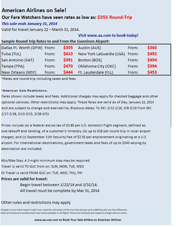 American Airlines Flights to Crested Butte Winter 2014