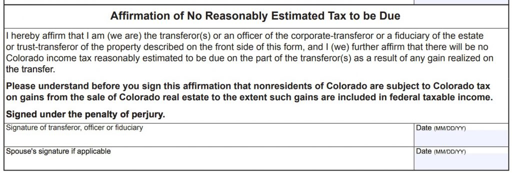 Colorado 2% Tax for Out of State Real Estate Sellers