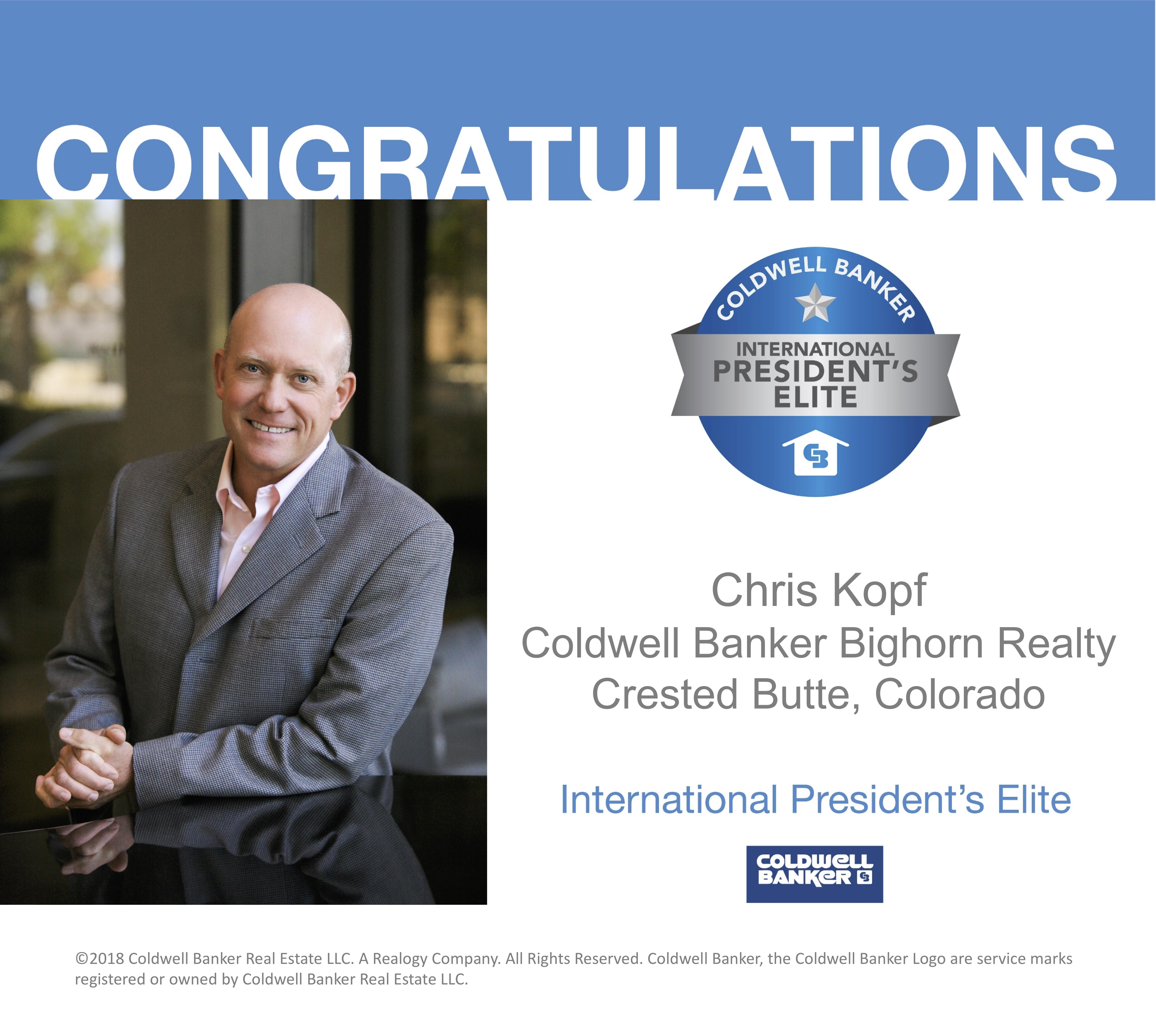 Coldwell Banker Awards Chris Kopf International President's Elite Award Again