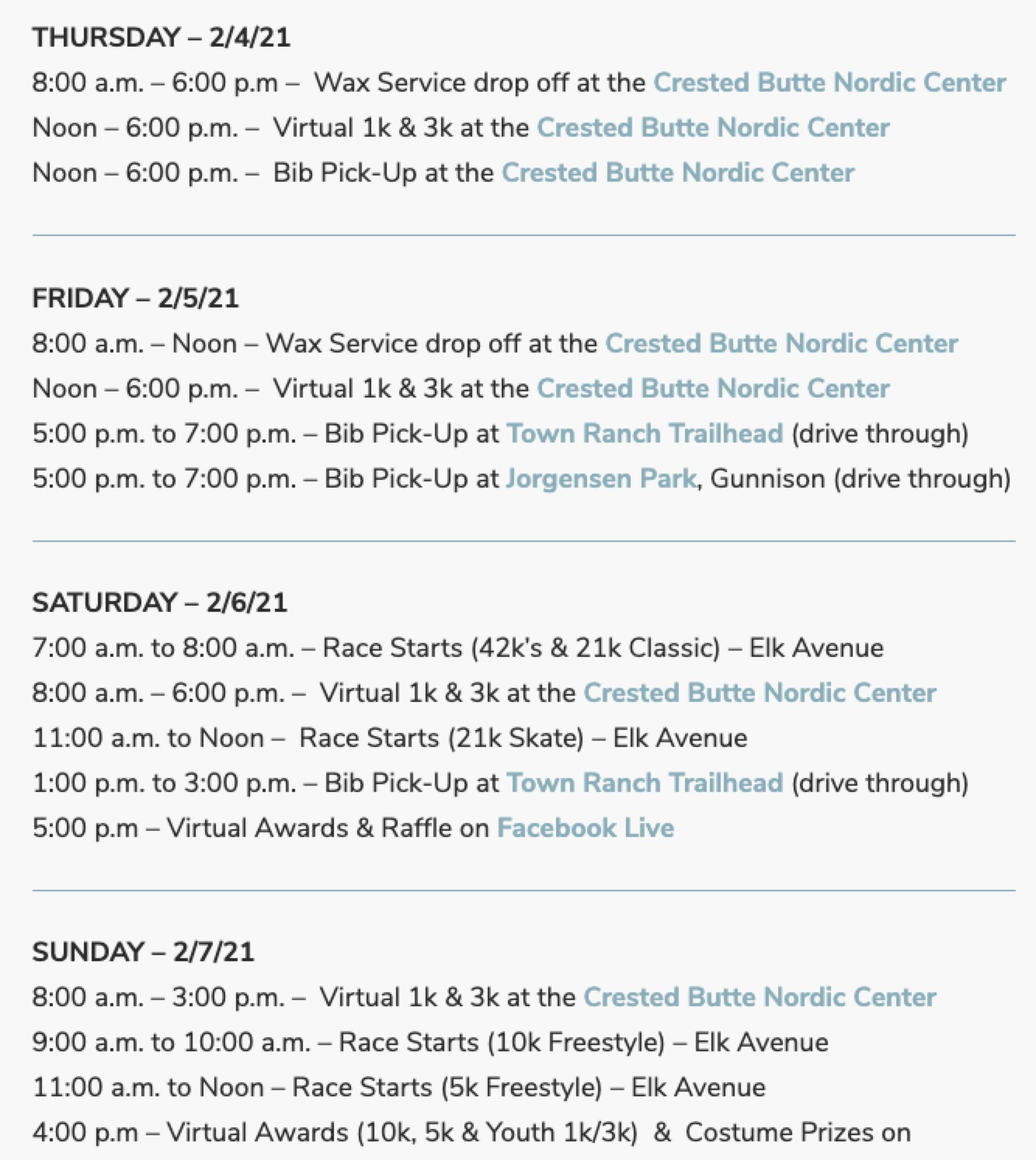 Crested Butte Alley Loop Schedule